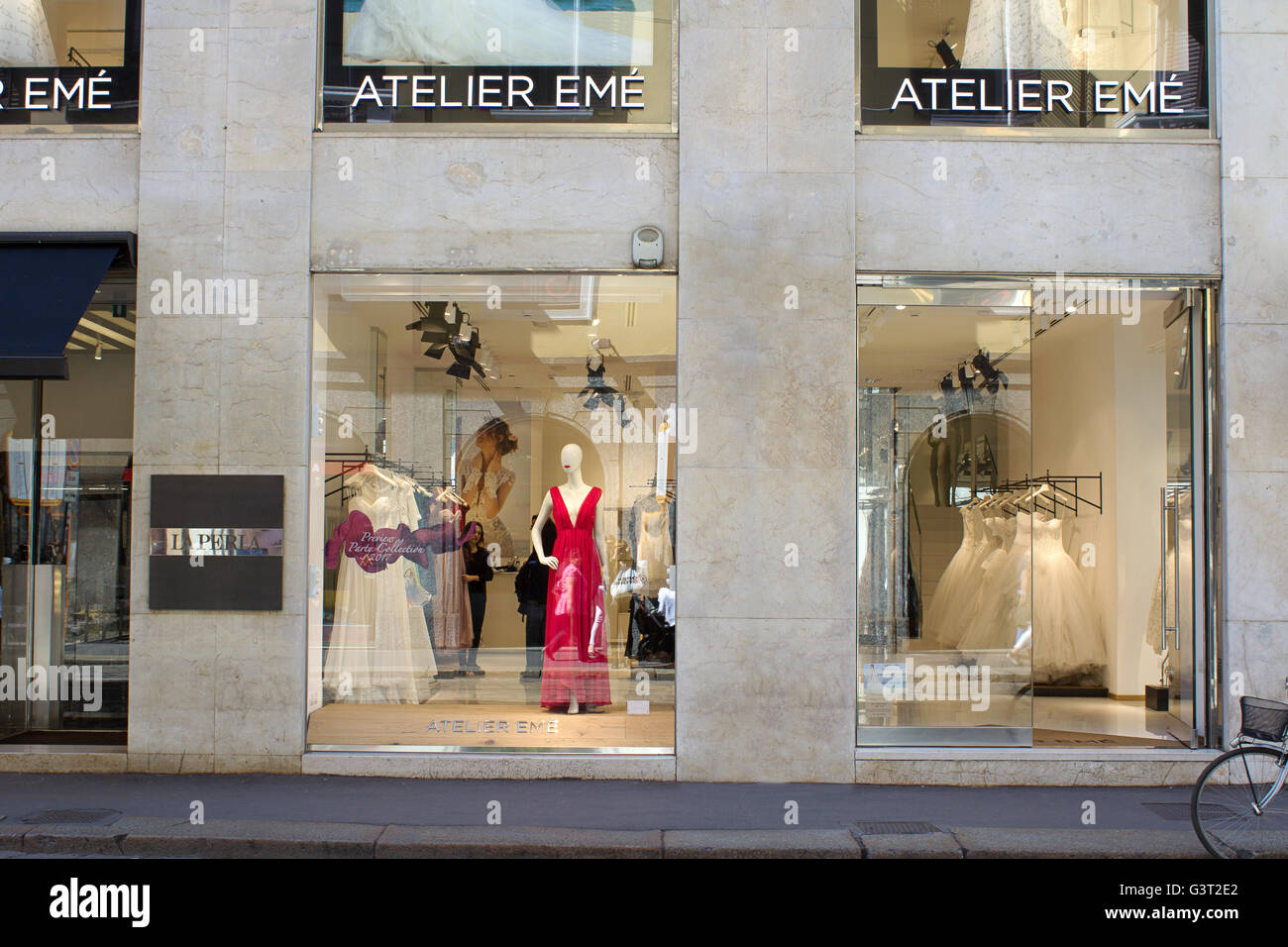 9004ef121a31 Atelier Emé high bridal fashion shopping windows in Milano fashion  district