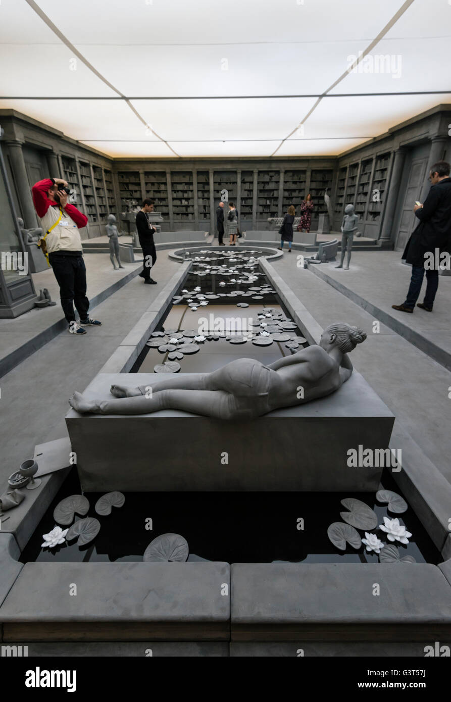 Basel, Switzerland. 14 June, 2016. Inside the installation 'The Collector's House' by Hans Op de Beeck - Stock Image