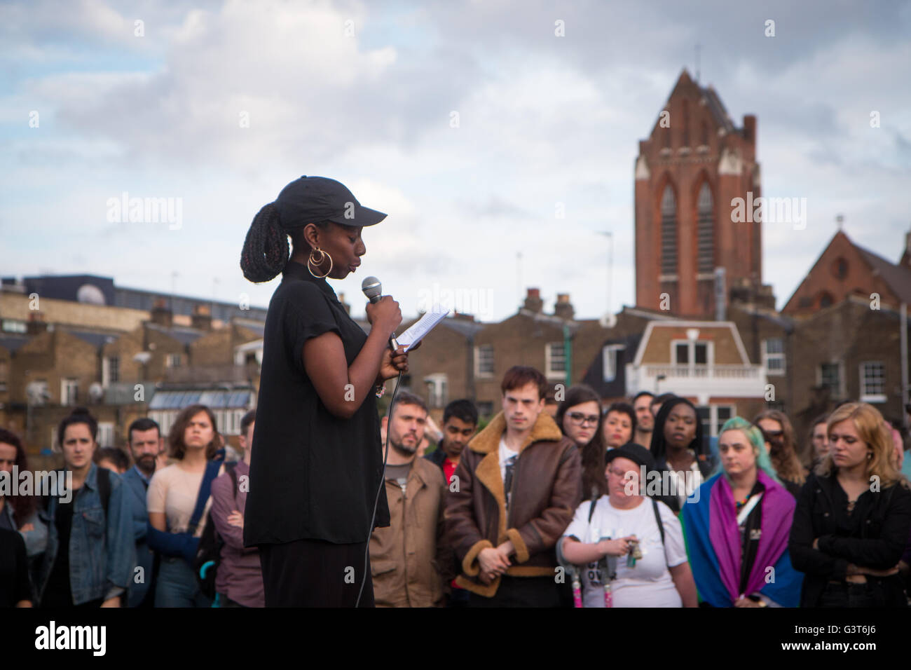 London, UK. 14th June, 2016. one of the organisers speaking Credit:  Zefrog/Alamy Live News - Stock Image