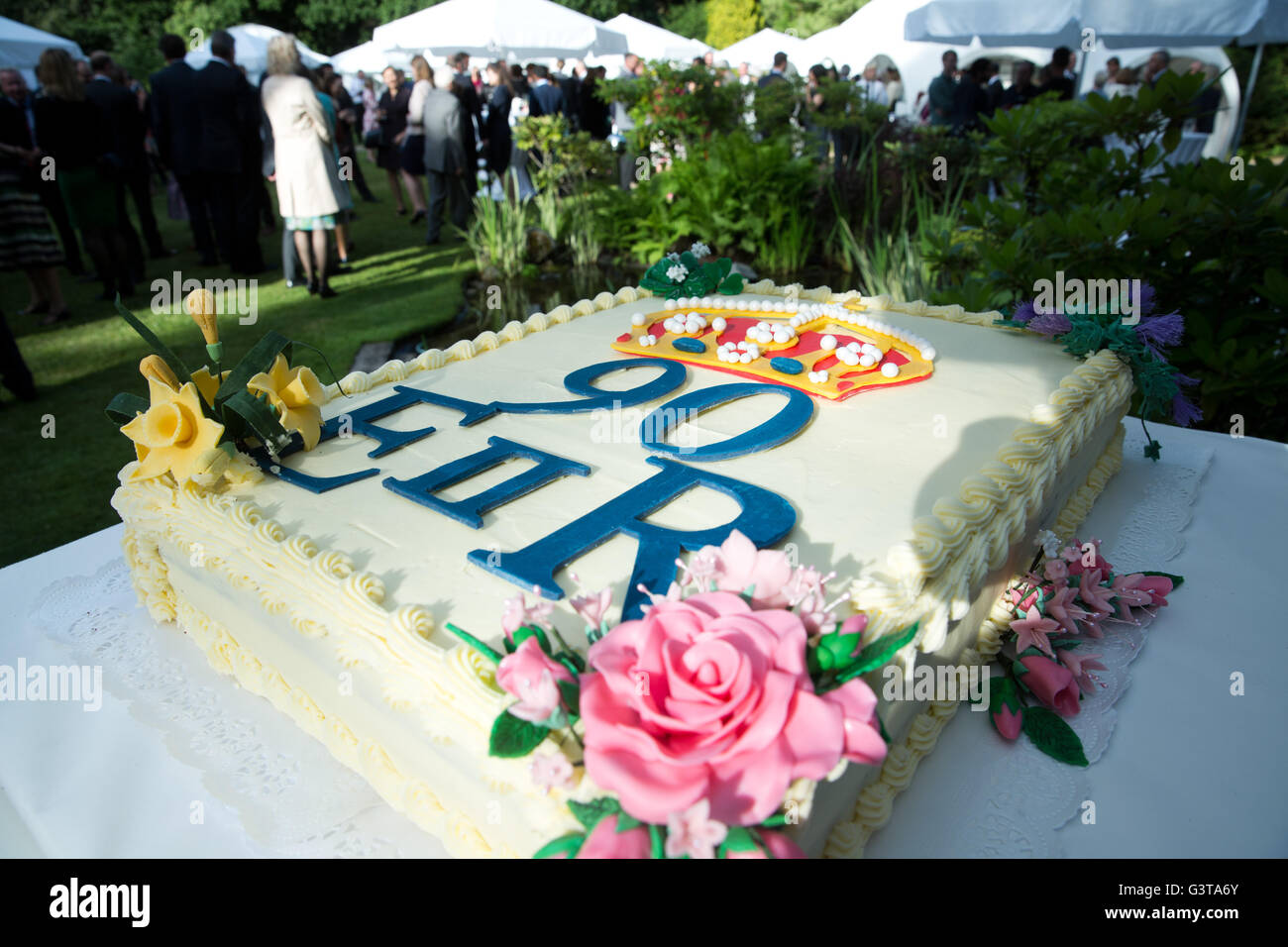 A Birthday Cake Was Made For The Queens 90th Party At Residence Of British Ambassador In Berlin Germany 14 June 2016
