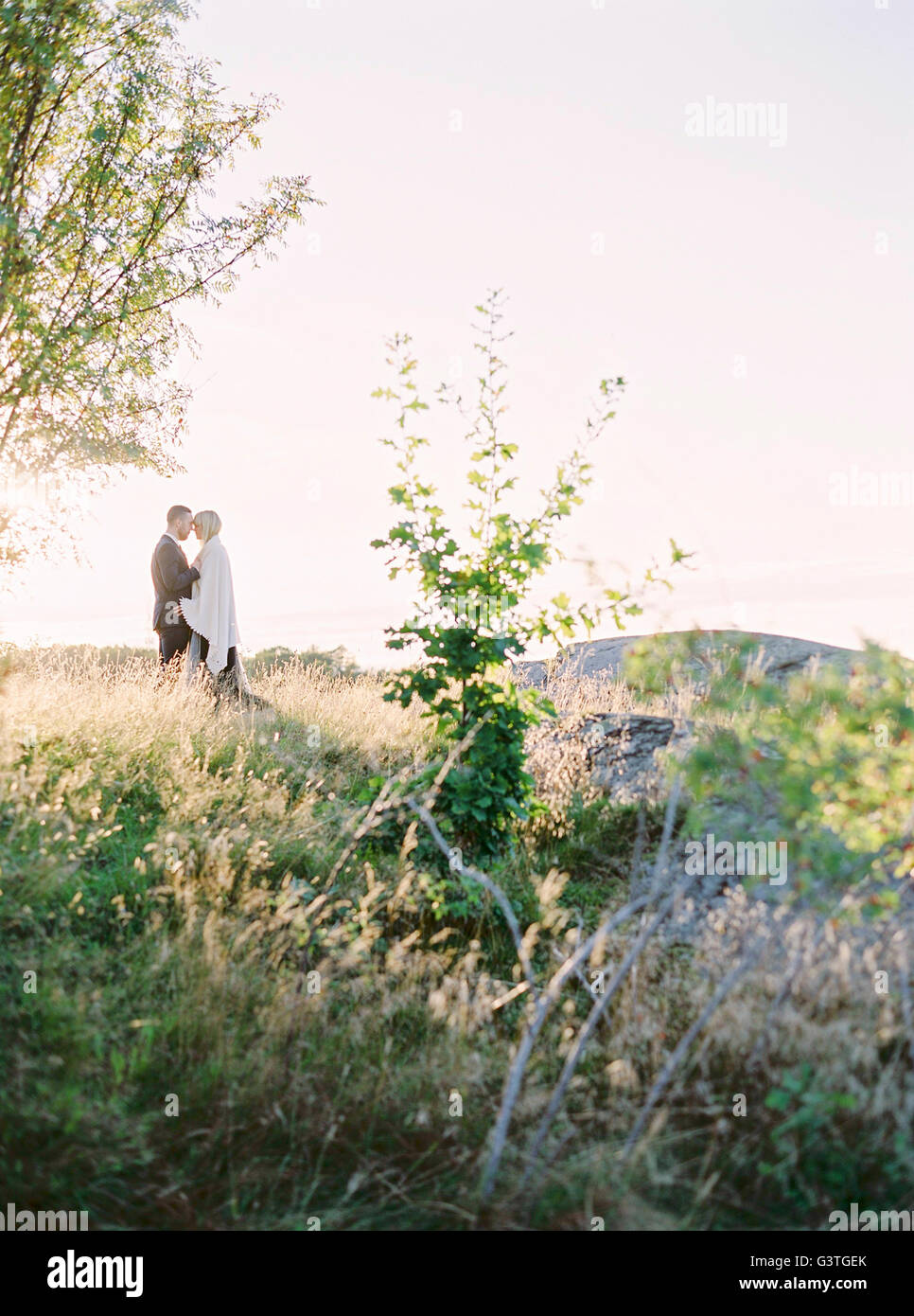 Sweden, Bride and groom standing face to face in grass - Stock Image