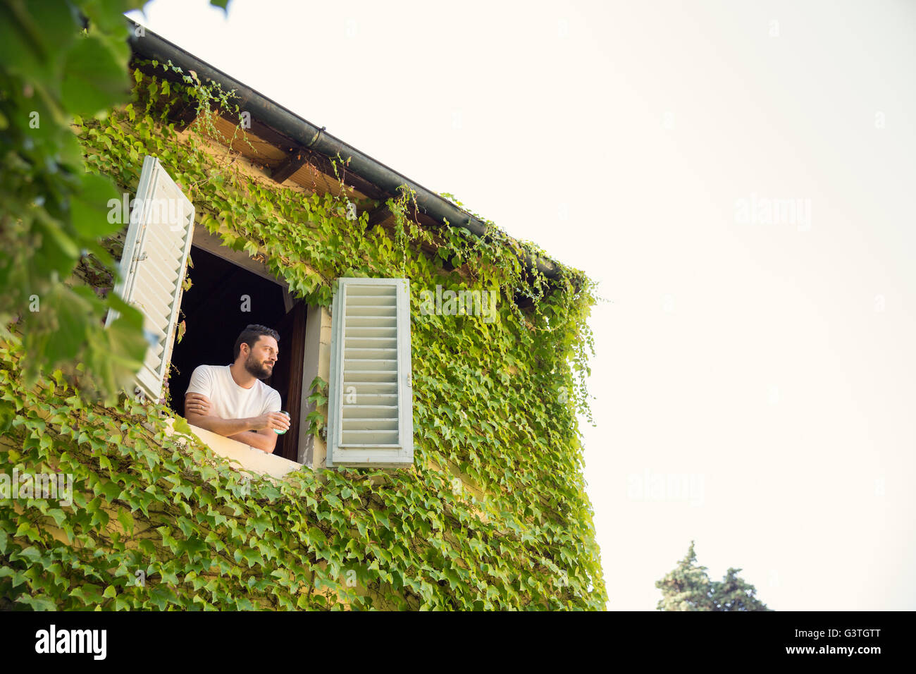 Italy, Tuscany, Dicomano, Man looking out from window of overgrown house - Stock Image