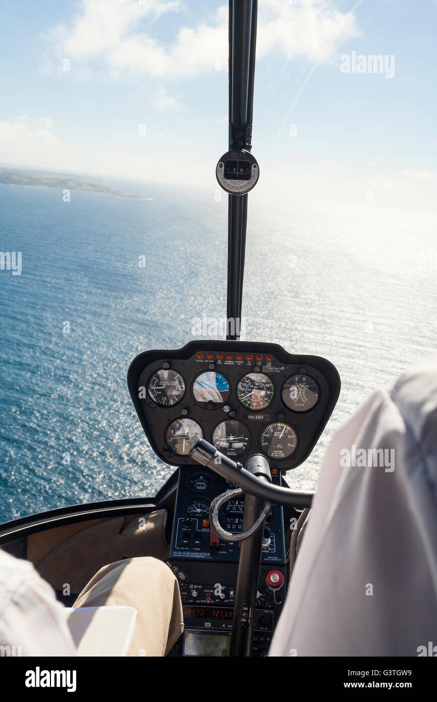 Australia, New South Wales, Sea seen from helicopter cockpit - Stock Image