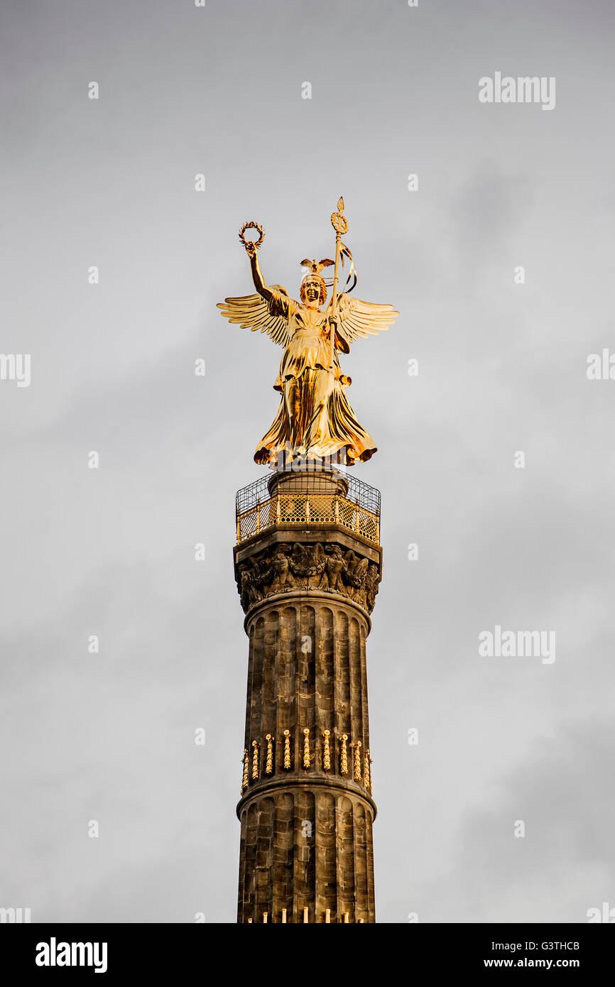 Germany, Berlin, Tiergarten, Siegessaule, View of Berlin Victory Column - Stock Image
