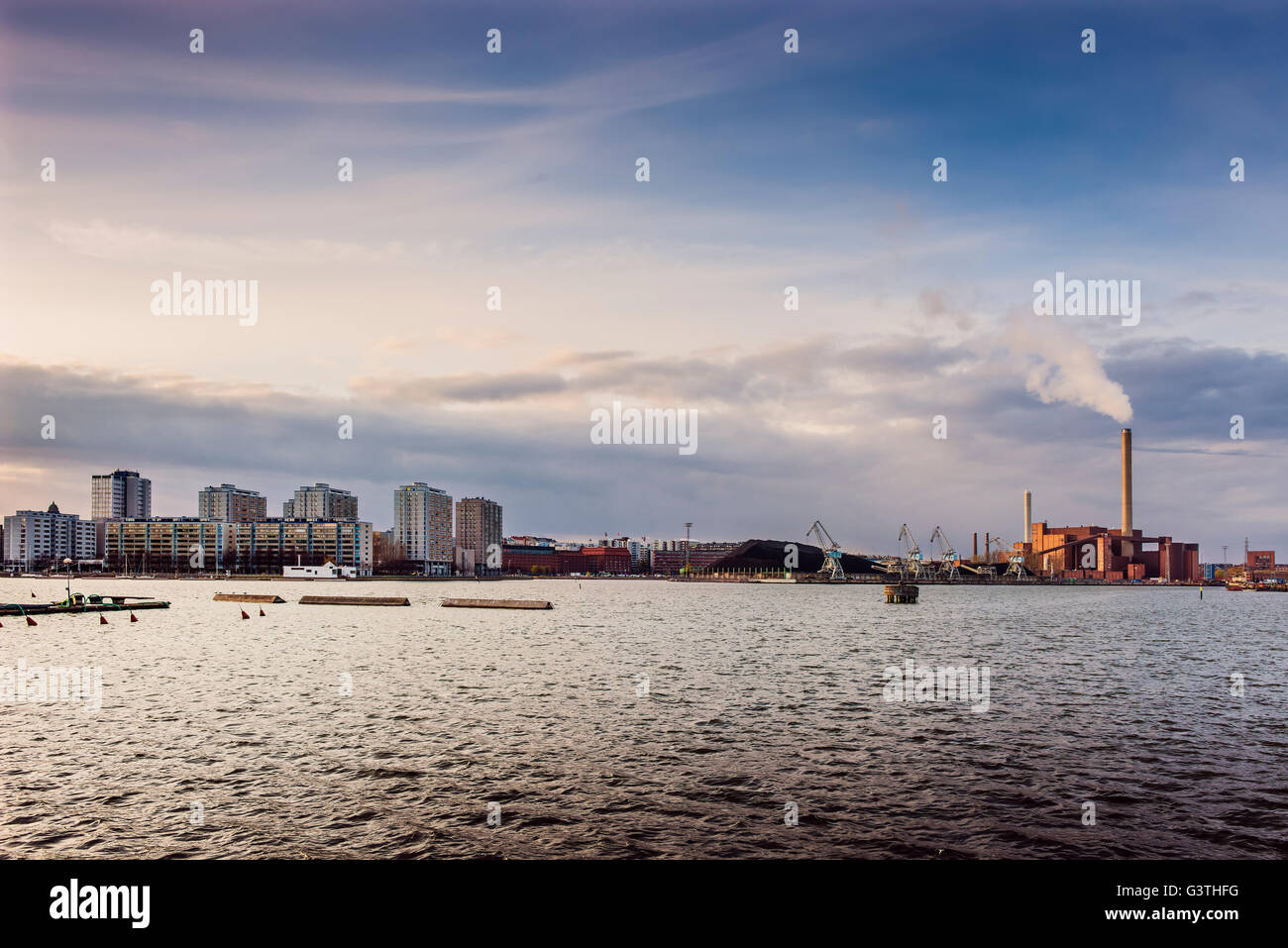 Finland, Helsinki, View of commercial dock - Stock Image