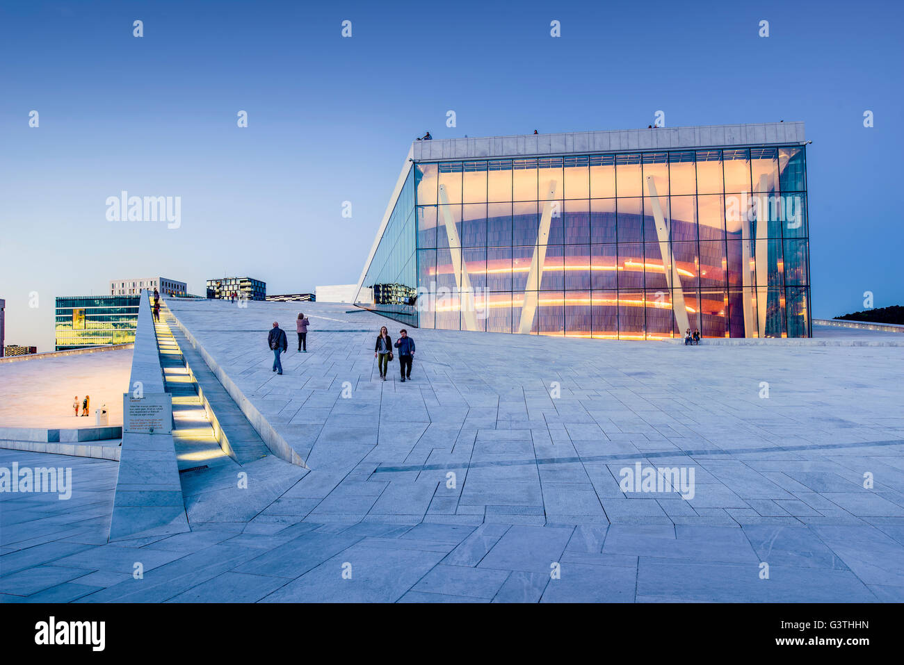 Norway, Oslo, Bjorvika, Operahuset at sunset - Stock Image