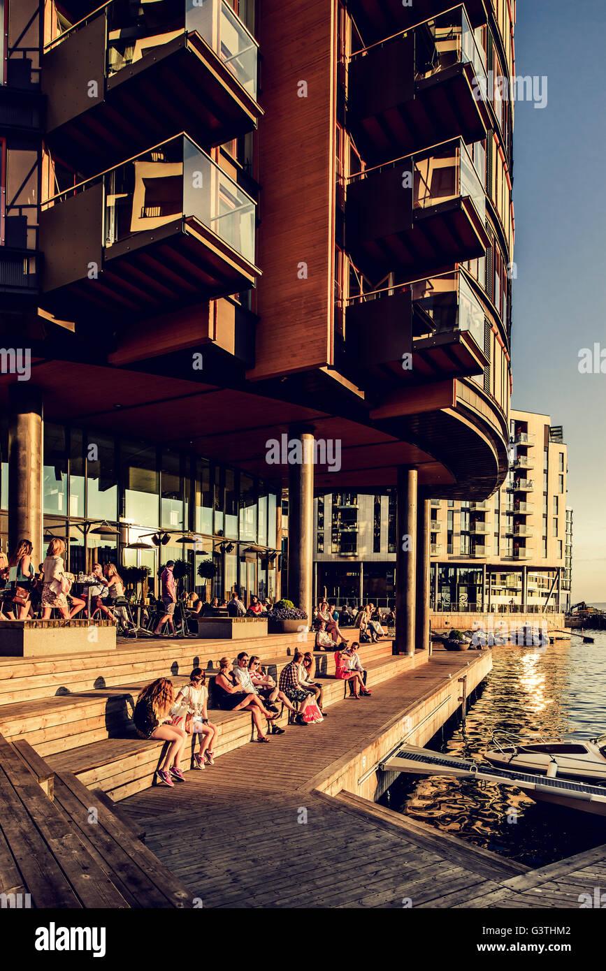 Norway, Oslo, Aker Brygge, Apartment buildings - Stock Image