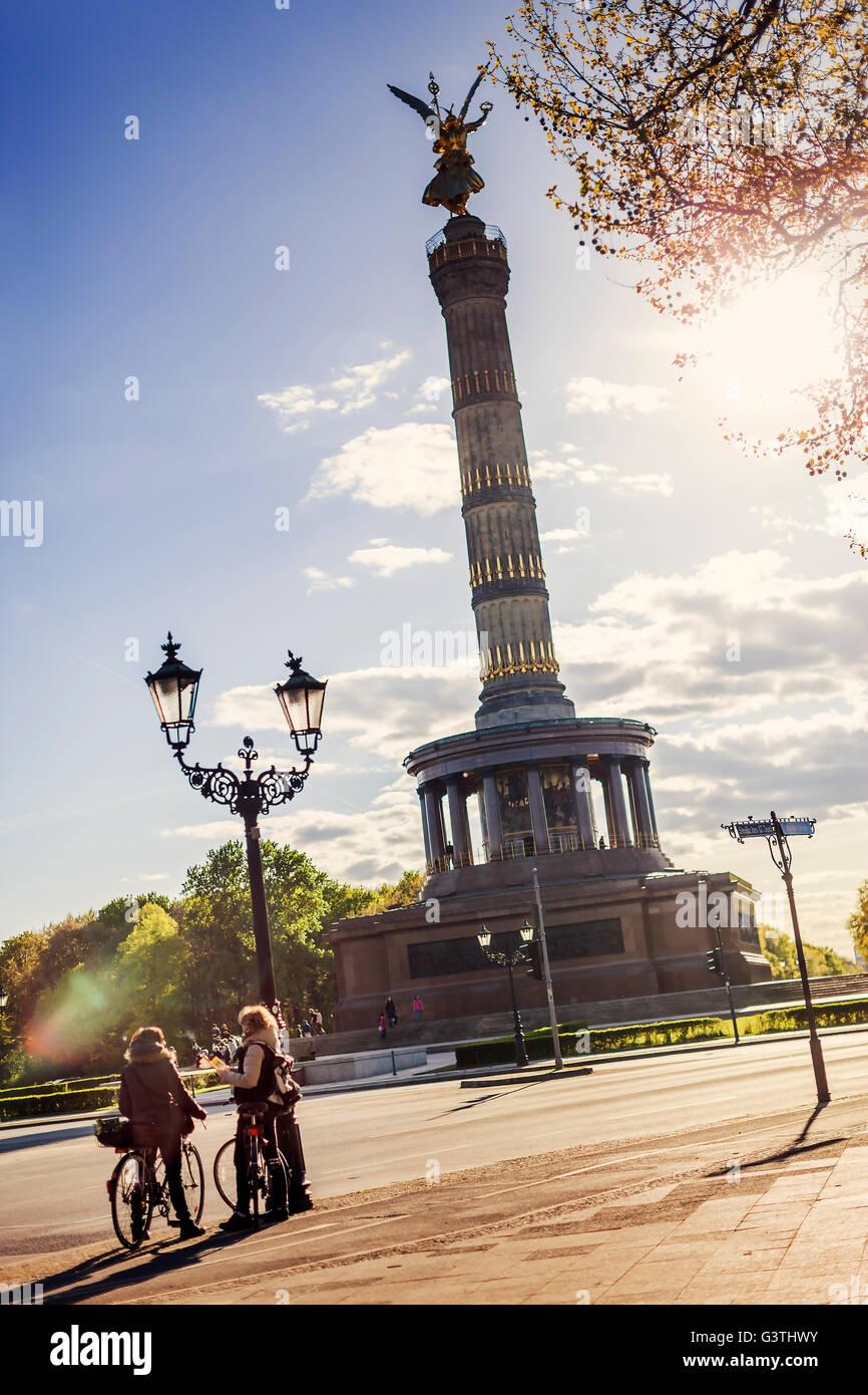 Germany, Berlin, Tiergarten, Victory Column in sunlight as seen from square Stock Photo