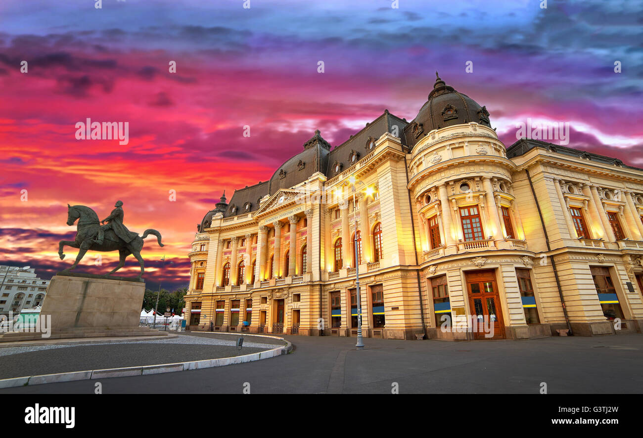 Bucharest by night. Sunset at the University Library. - Stock Image