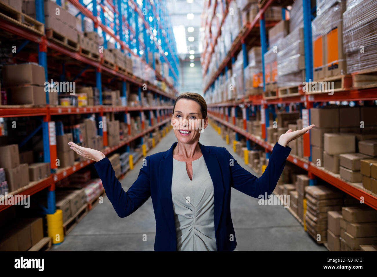 Half length of warehouse manager - Stock Image