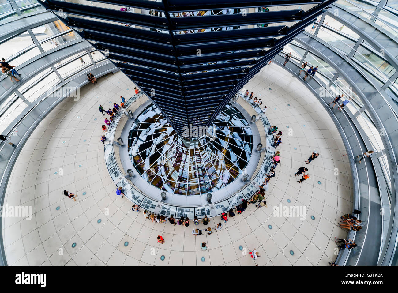 Germany, Berlin, Elevated view of Bundestag atrium - Stock Image
