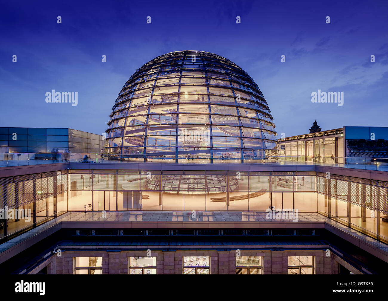 Germany, Berlin, Illuminated dome of Bundestag - Stock Image