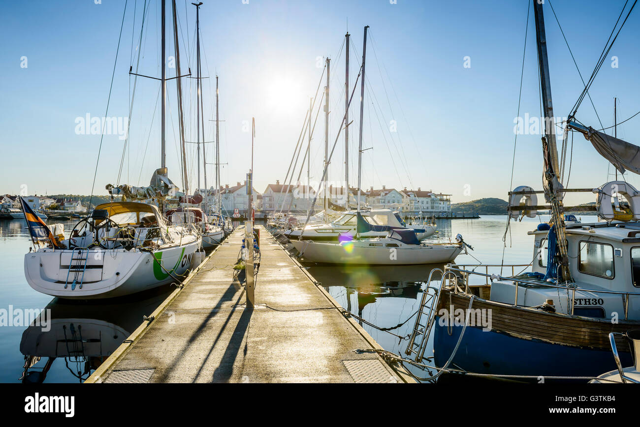 Sweden, West Coast, Bohuslan, Marstrand, View of yachts anchored in harbor - Stock Image