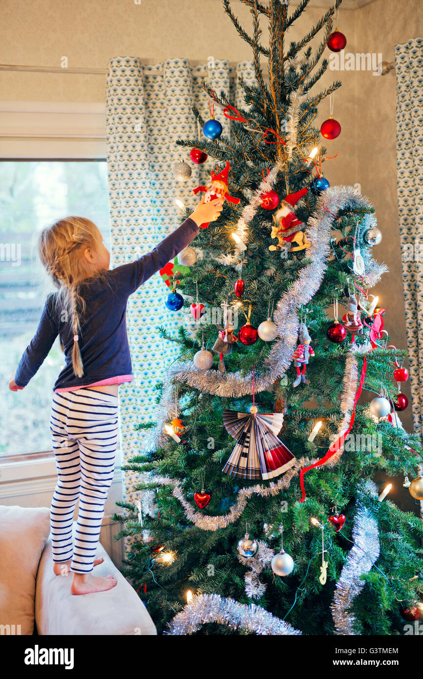 Finland Girl 4 5 Decorating Christmas Tree Stock Photo Alamy
