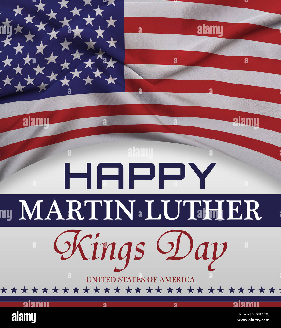 Happy Martin Luther King Day Greeting Lettering American Flag Stock