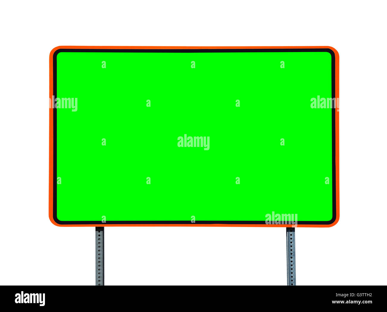 Highway road sign isolated on white with chroma key green screen insert. - Stock Image