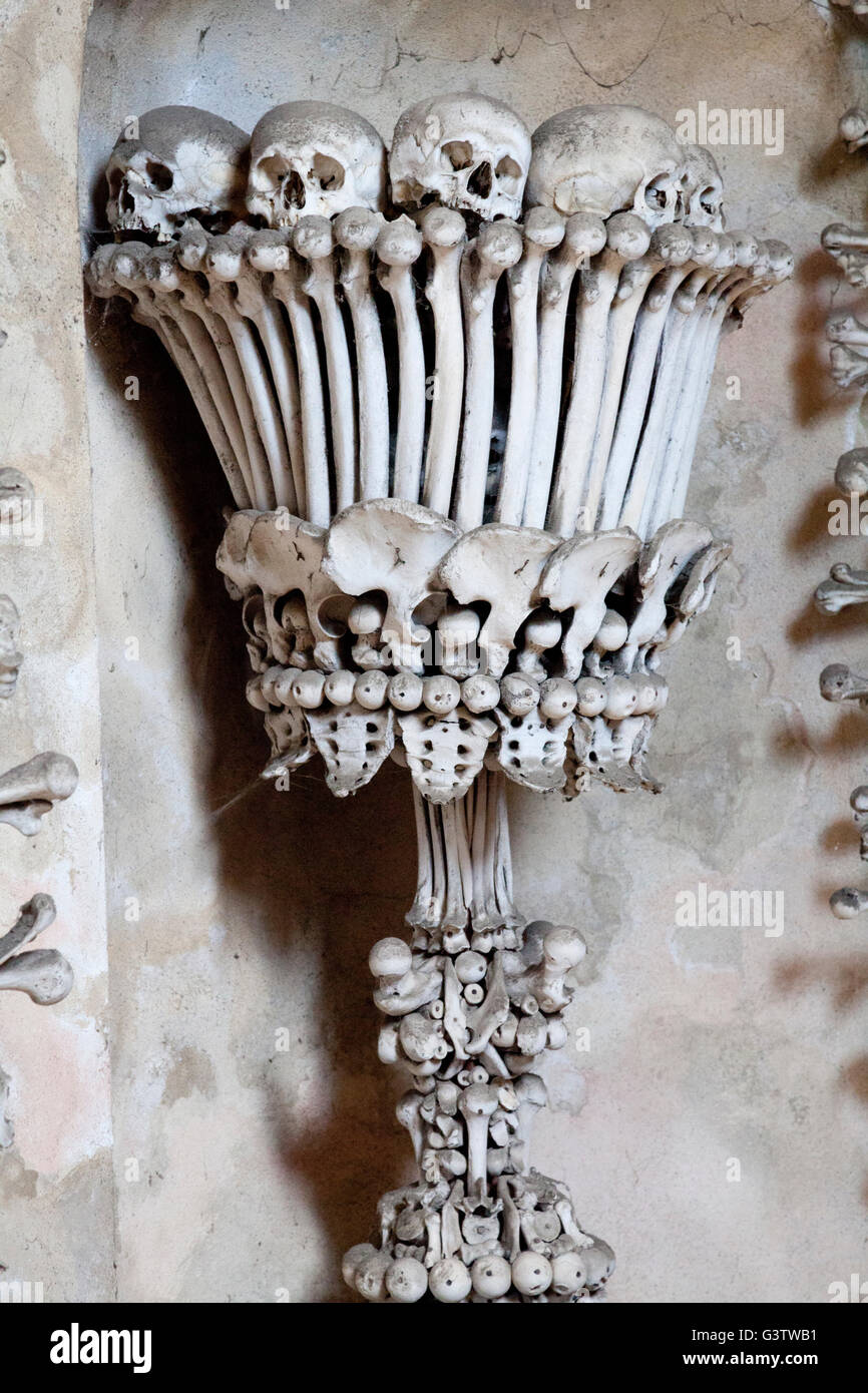 Close up of the chalice by the entrance to the Sedlec Ossary near Kutna Hora, Czech Republic - Stock Image