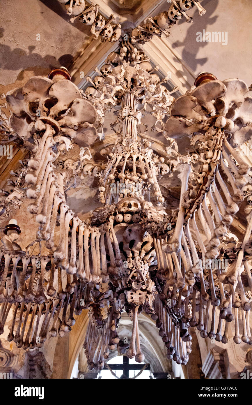 The chandelier that contains every bone in the human body in the the chandelier that contains every bone in the human body in the sedlec ossary kutna hora czech republic mozeypictures