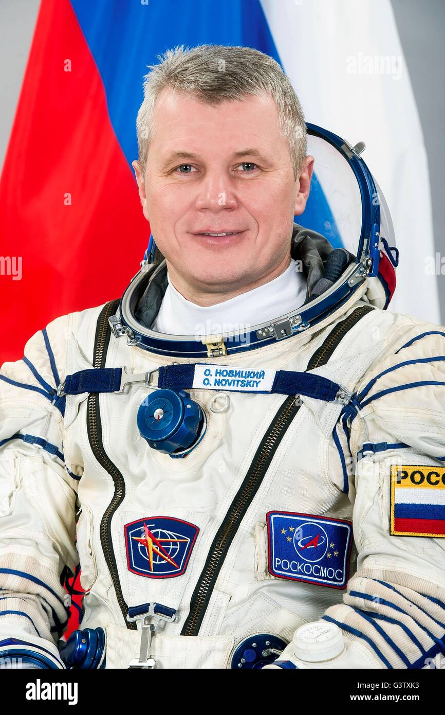 International Space Station Expedition 50 Russian cosmonaut Oleg Novitsky official portrait wearing the Sokol space - Stock Image