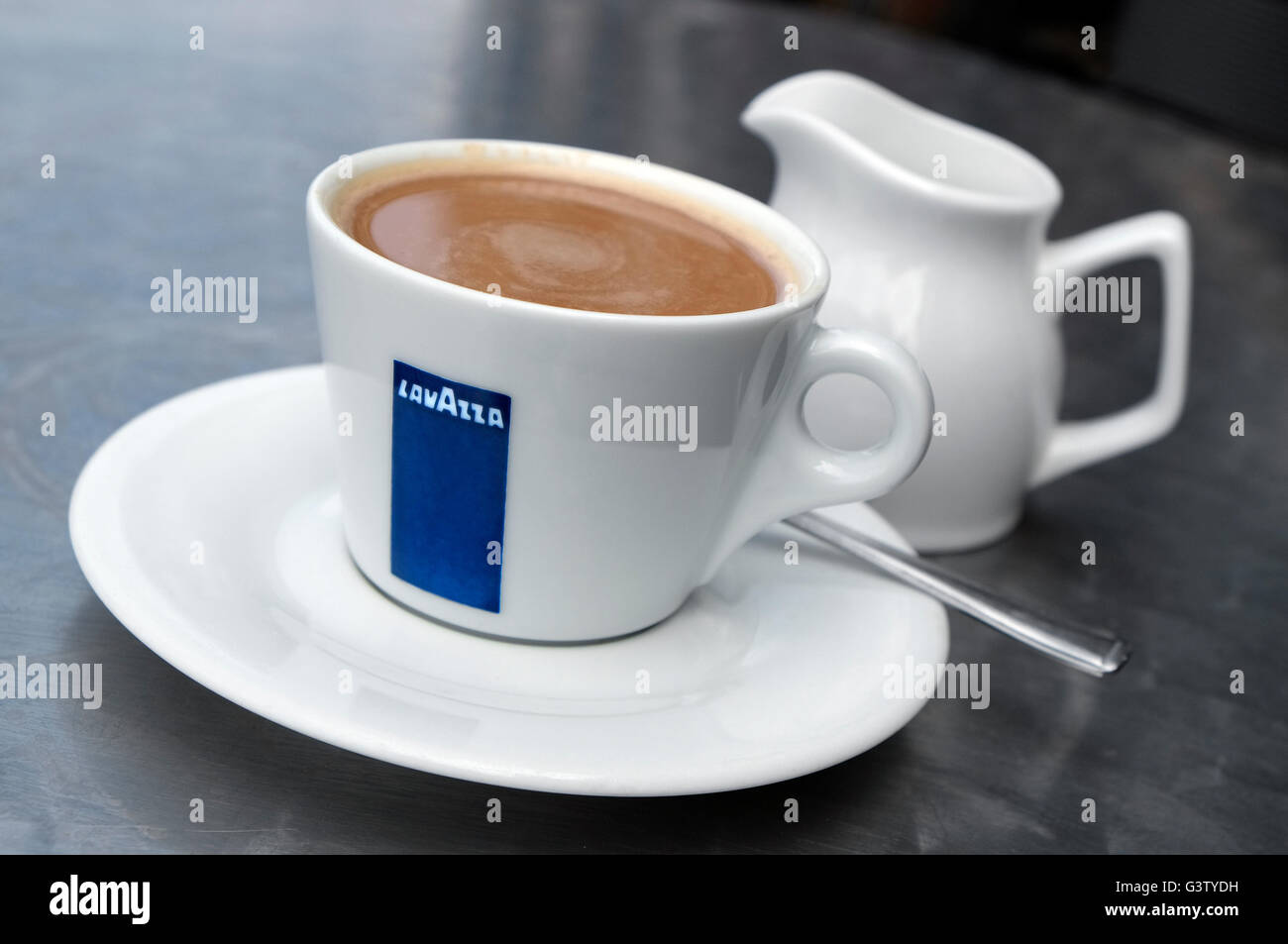cup of lavazza branded coffee - Stock Image