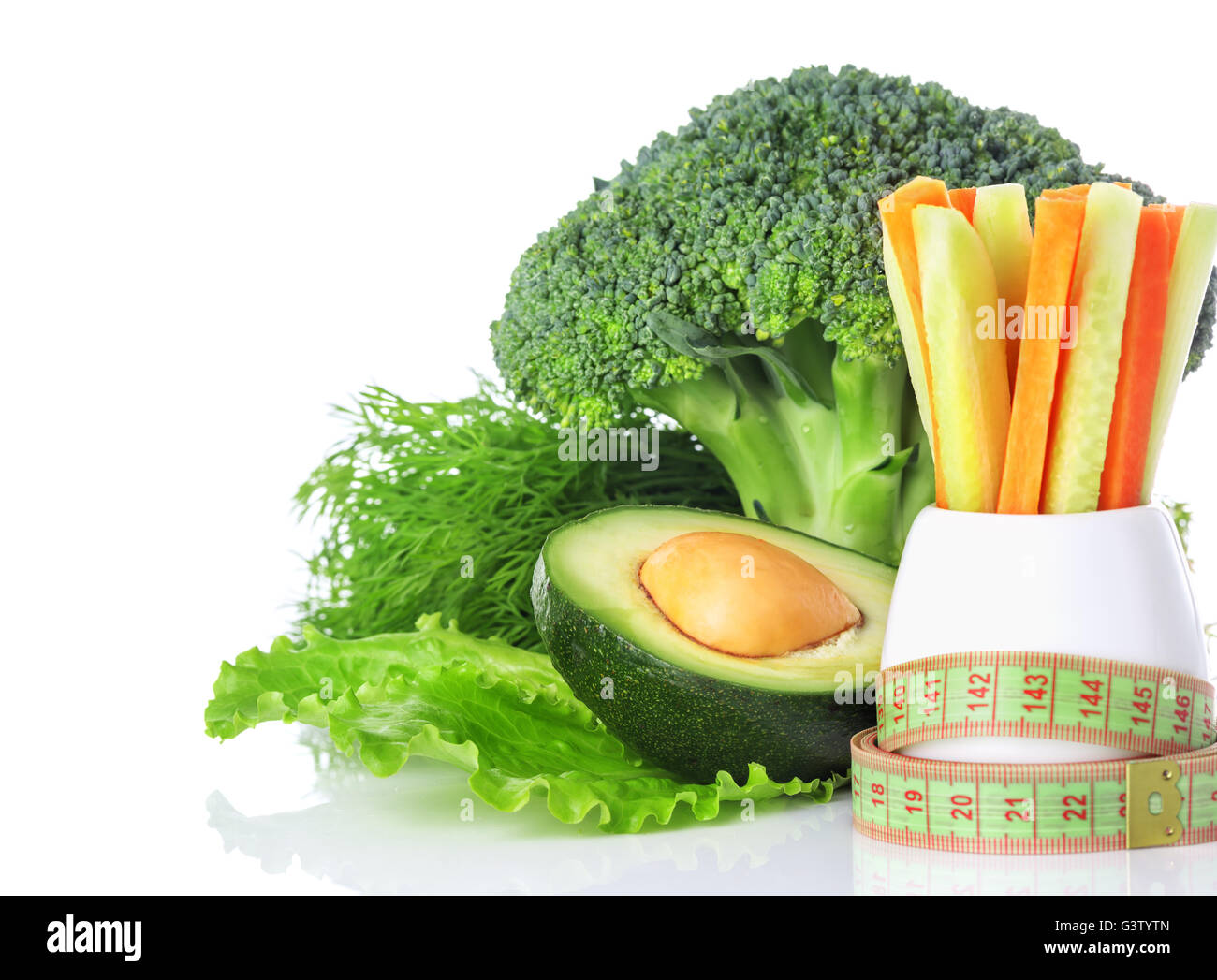 The Concept Of A Healthy Eating And Weight Loss Centimeter Green