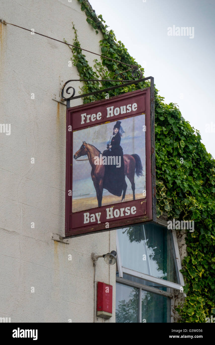 Pub sign of  BAY HORSE Free Public House at Canal Foot Ulverston Cumbria - Stock Image