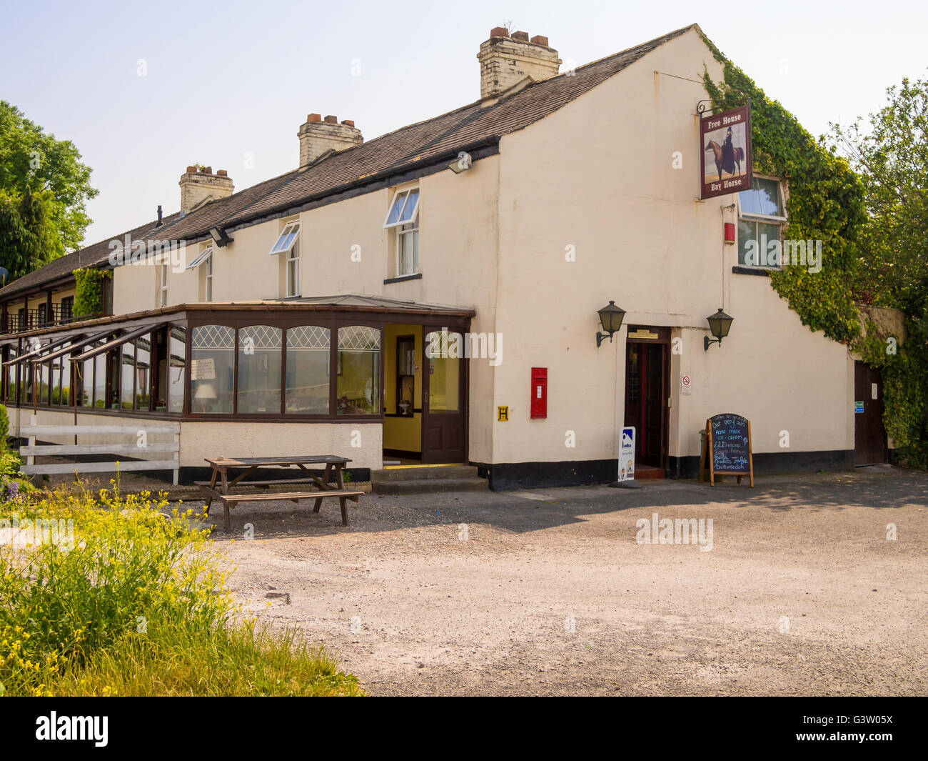 The Bay Horse Pub and Veranda restaurant at Canal Foot  Ulverston Cumbria England UK - Stock Image