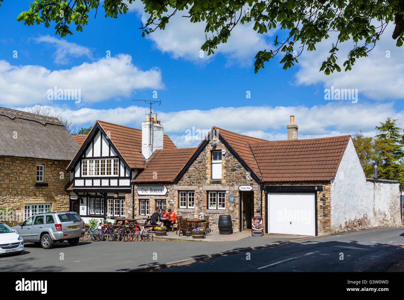 The Border hotel and public house, official end of the Pennine Way, Kirk Yetholm, Scottish Borders, Scotland, UK - Stock Image