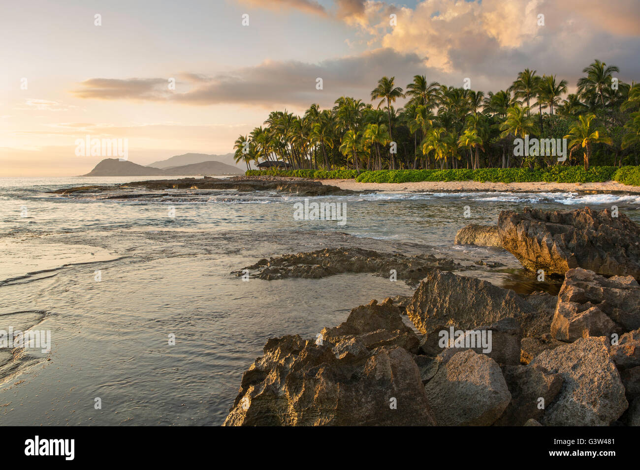 West Oahu, Lanikuhonua, view from east end of property toward west.  Maili Point in distance.  Palm tree fringed - Stock Image