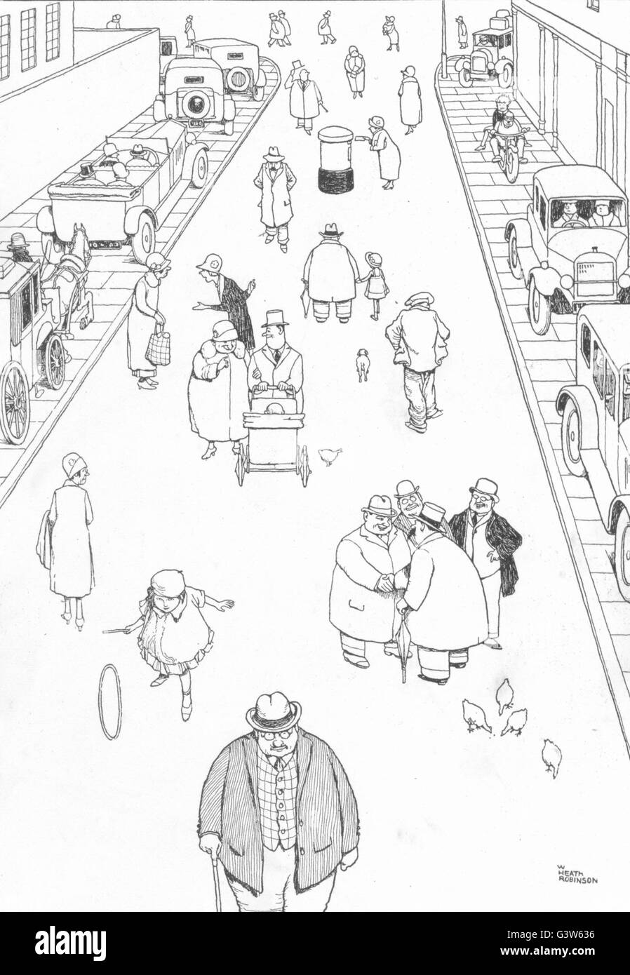 HEATH ROBINSON: New road regulations for safety of pedestrians, old print 1920 - Stock Image