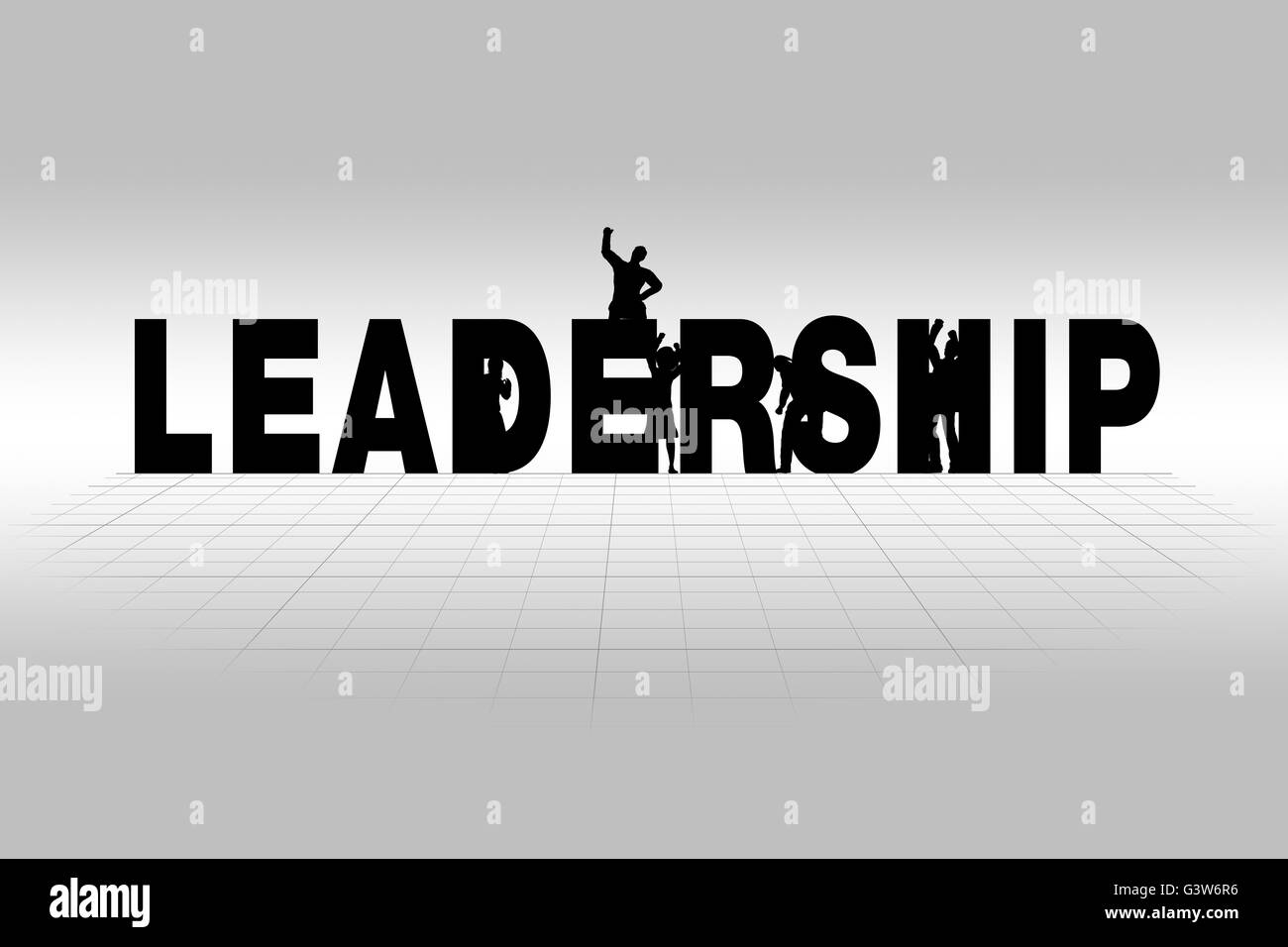 Leadership word communicating business concept of leadership in silhouette. - Stock Image