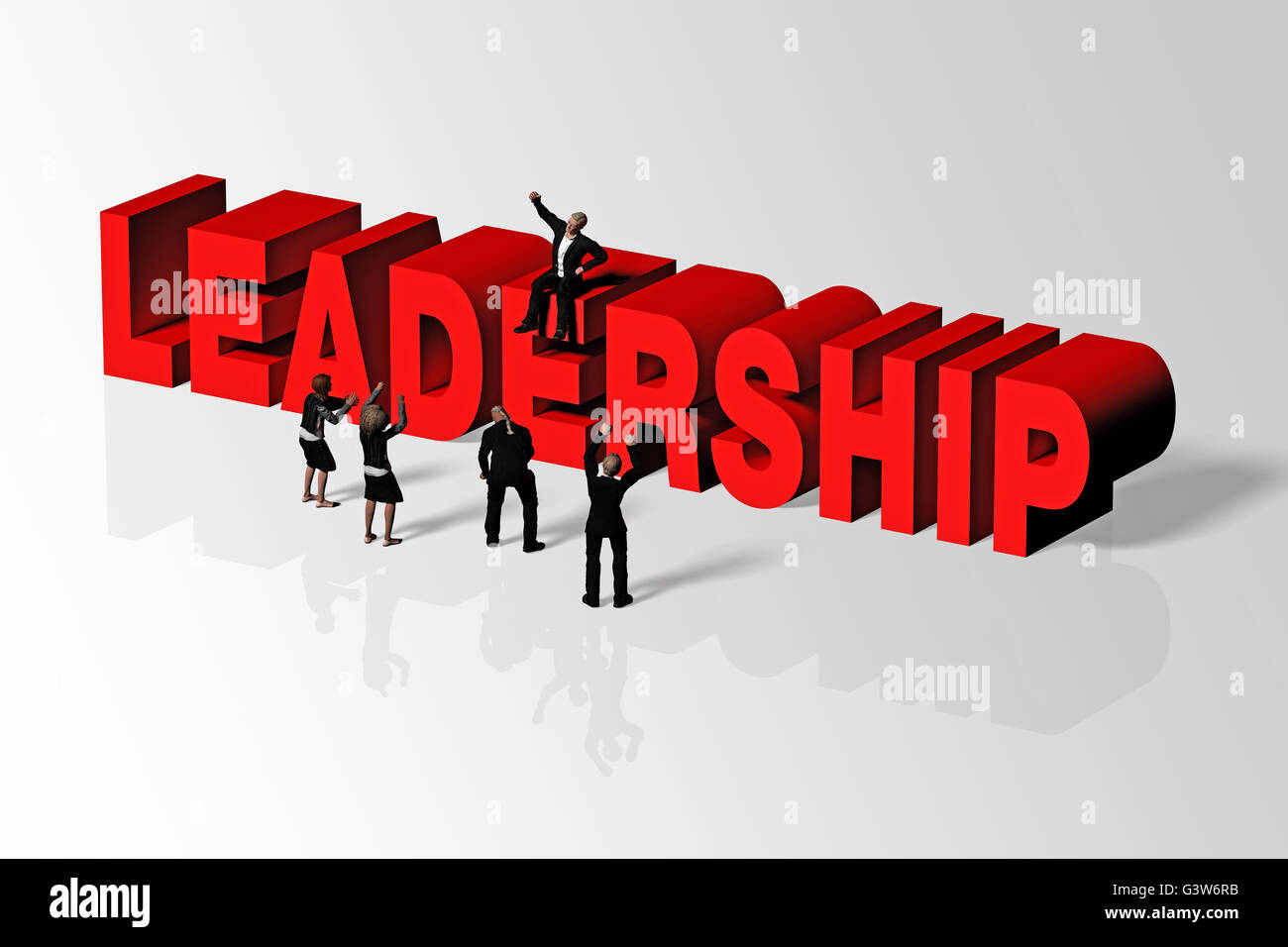 Leadership word and group of people conveying business concept of leadership, 3D rendering. - Stock Image