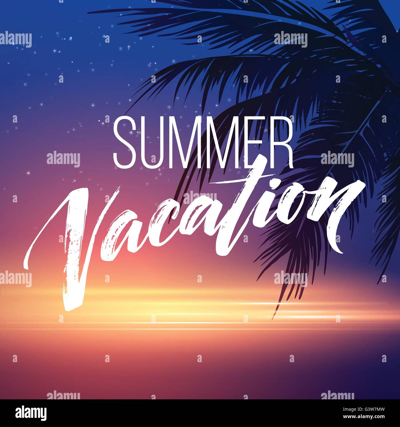 Summer Vacation Handwriting Typography Lettering And Calligraphy Poster And Flyer Design Template Summer Landscape With Palm Trees And Sea