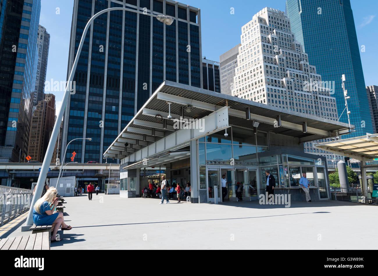 Pier 11 / Wall Street passenger ferry terminal in Manhattan, New York City - Stock Image