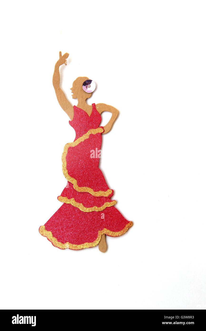 Spanish Sticker Of A Flamenco Dancer - Stock Image