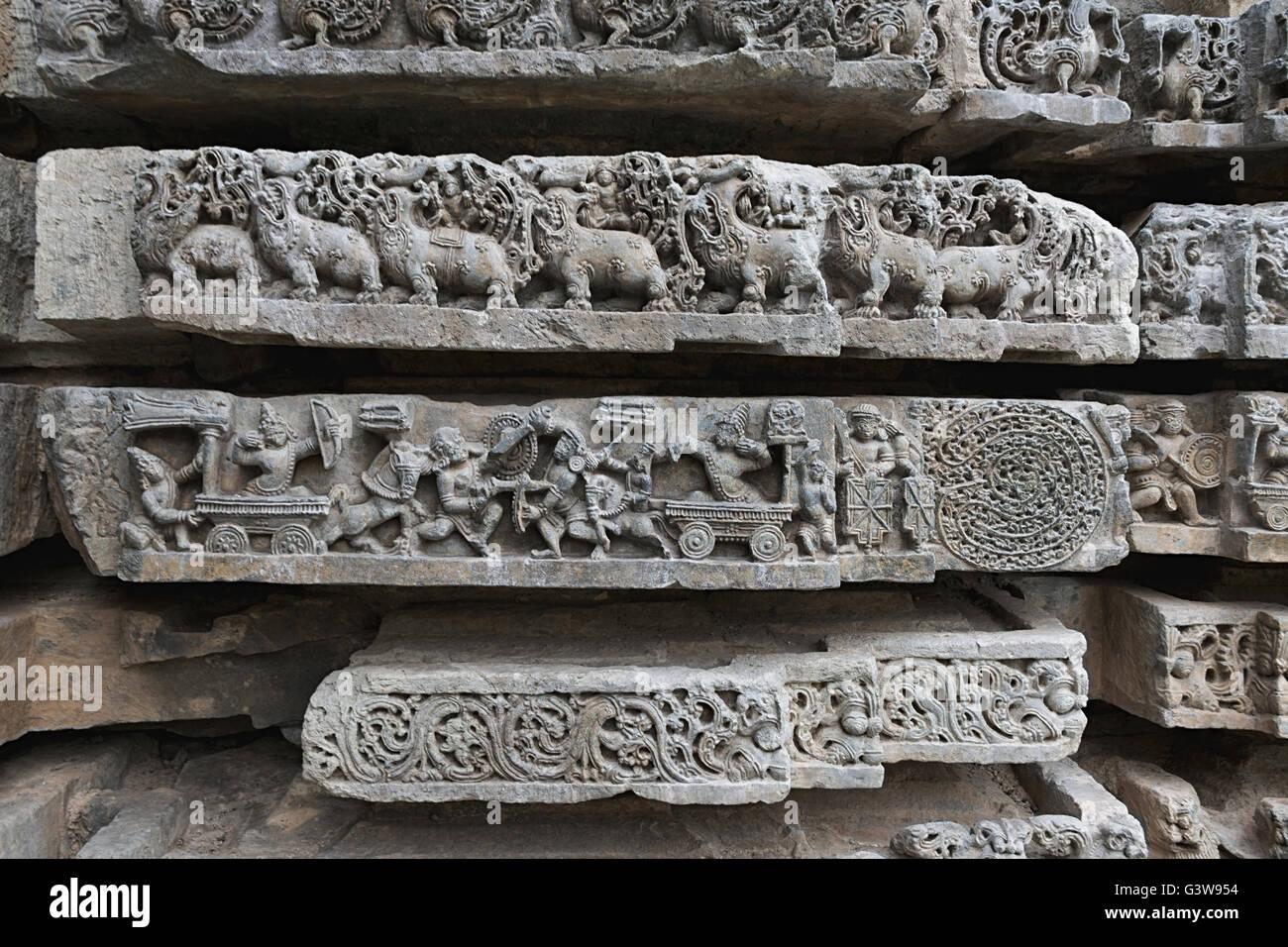 Episode from Mahabharata. (from left) Karna-Arjuna war, Abhimanyu entering Chakravyuha or Padmavyuha, Kedareshwara - Stock Image