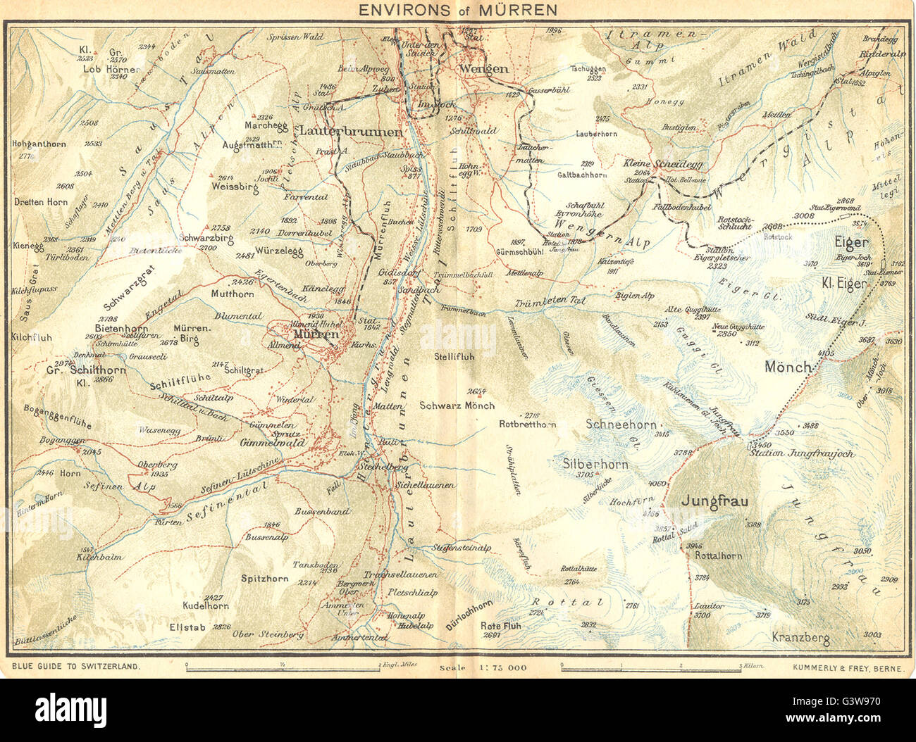 SWITZERLAND: Environs of Murren, 1930 vintage map - Stock Image