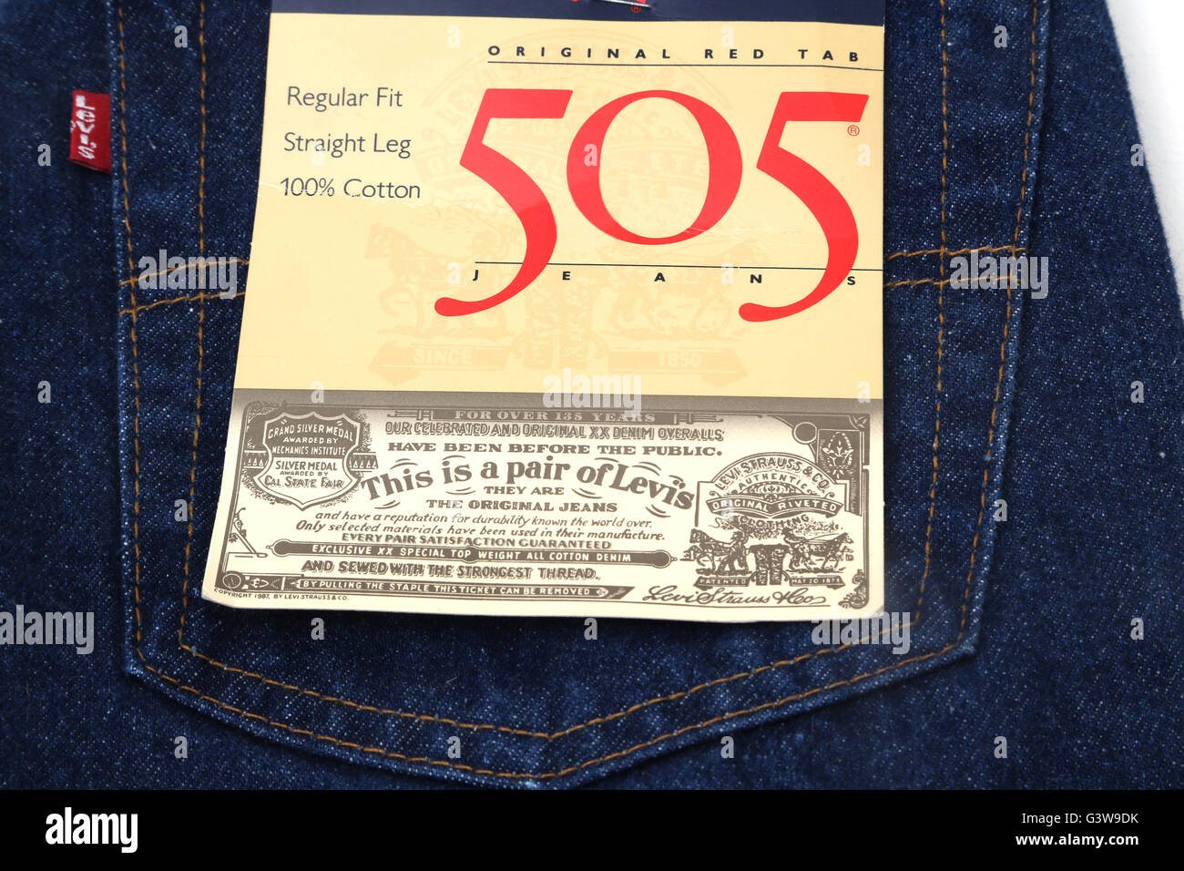 15eaf06d693 Levi Strauss Original Red Tab 505 Jeans Label Stock Photo: 105662415 ...