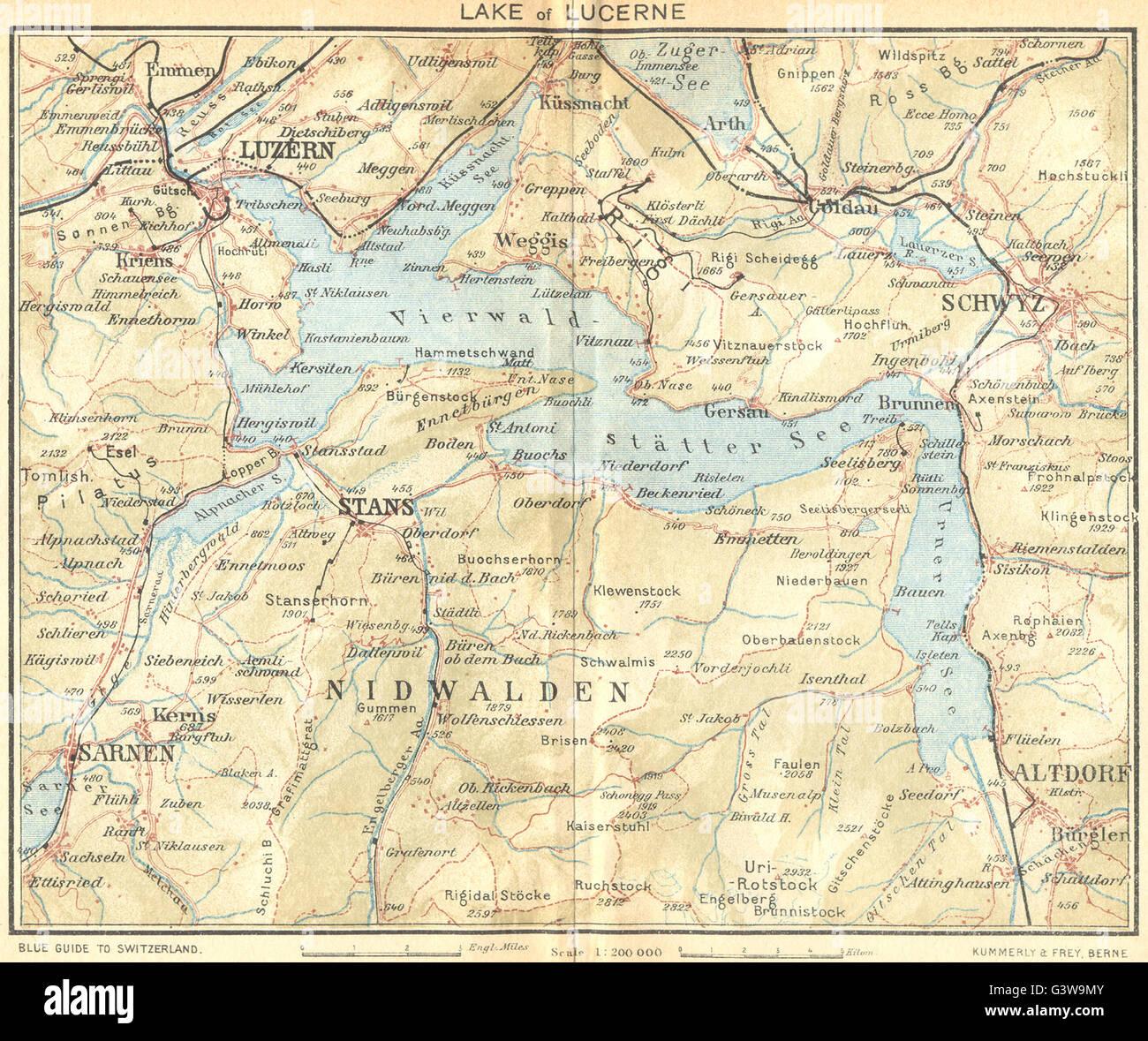 SWITZERLAND Lake of Lucerne 1930 vintage map Stock Photo