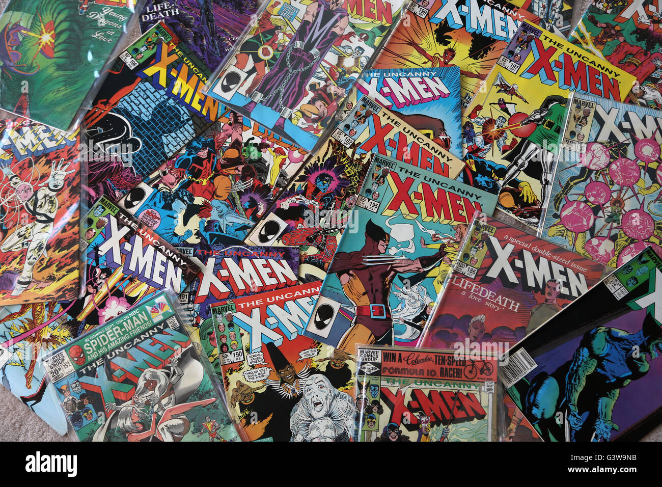 Collection Of Vintage Marvel Comic Books The Uncanny X Men Stock