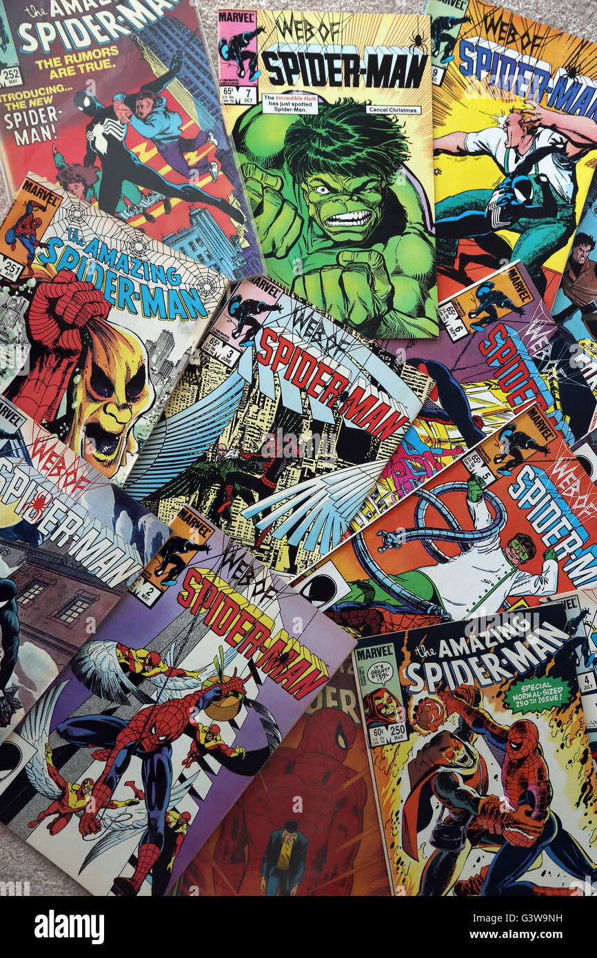 Collection Of Vintage Marvel Comic Books The Amazing Spider-Man And The Web Of Spider-Man Stock Photo
