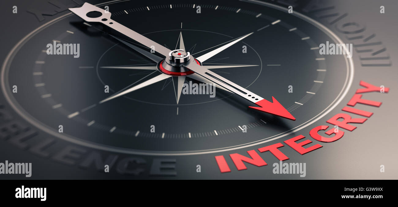 3D illustration of a compass over black background with needle pointing the word integrity. Concept image of company - Stock Image