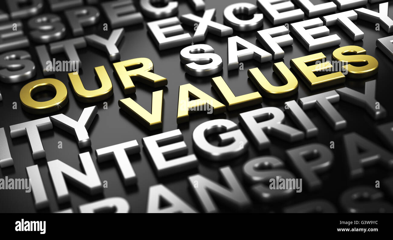 3D illustration over black background. Text our values written with golden letters with other words like integrity - Stock Image