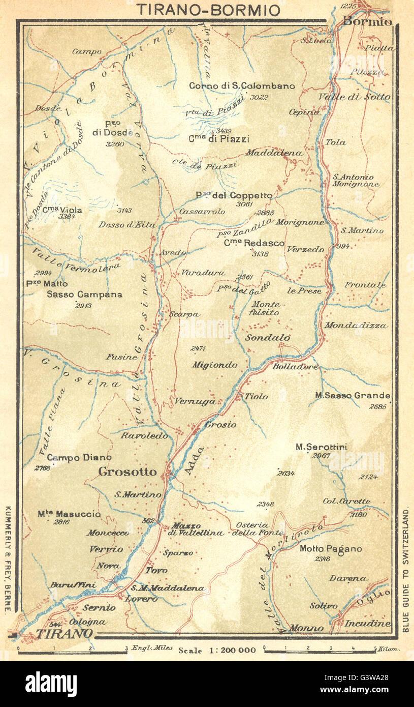 Bormio Italy Map.Italy Tirano Bormio 1930 Vintage Map Stock Photo 105662880 Alamy