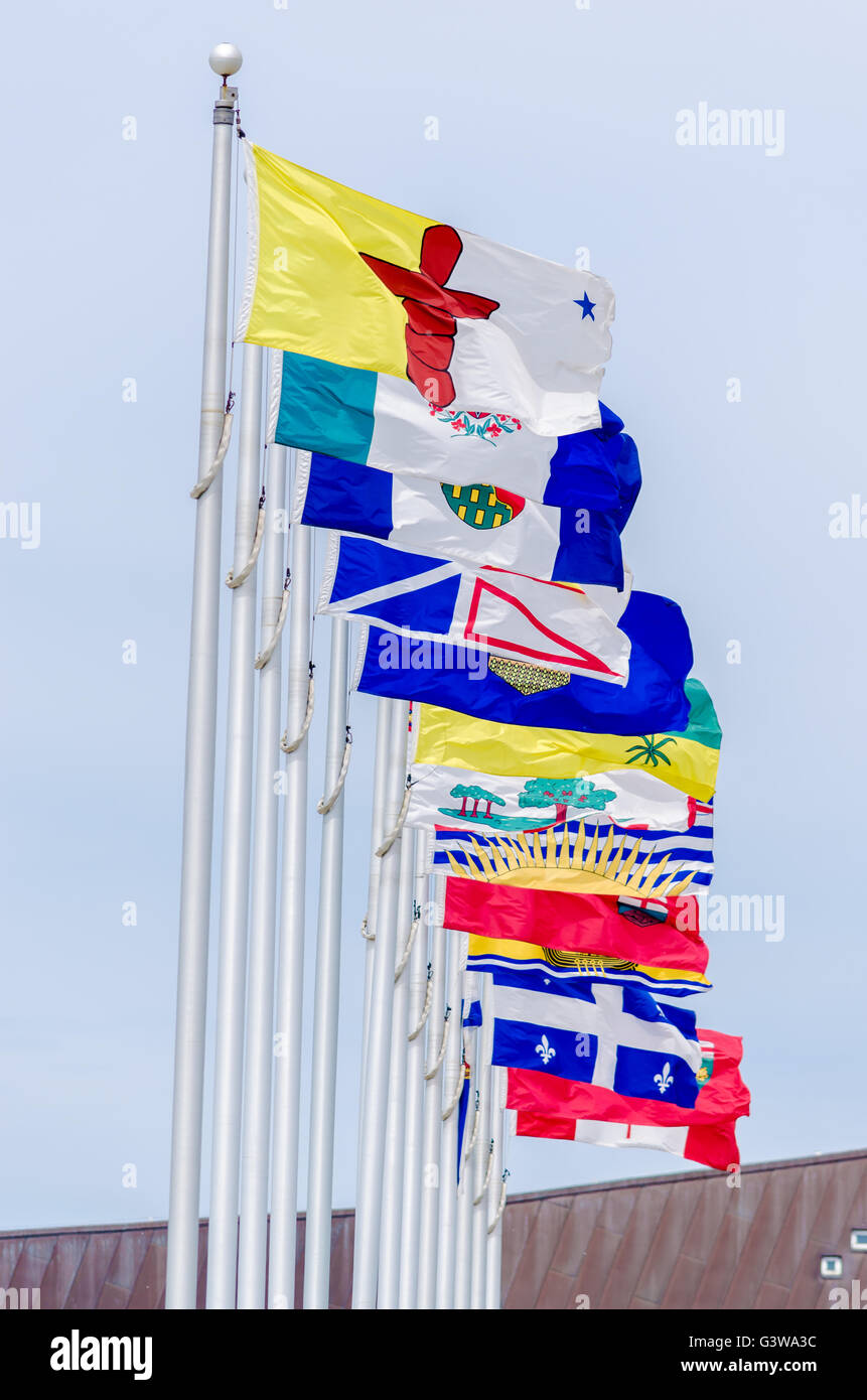 Picture of the canadian Flag along with the flags of the 10 Canadian Provinces and the 3 Canadian Territories, in - Stock Image