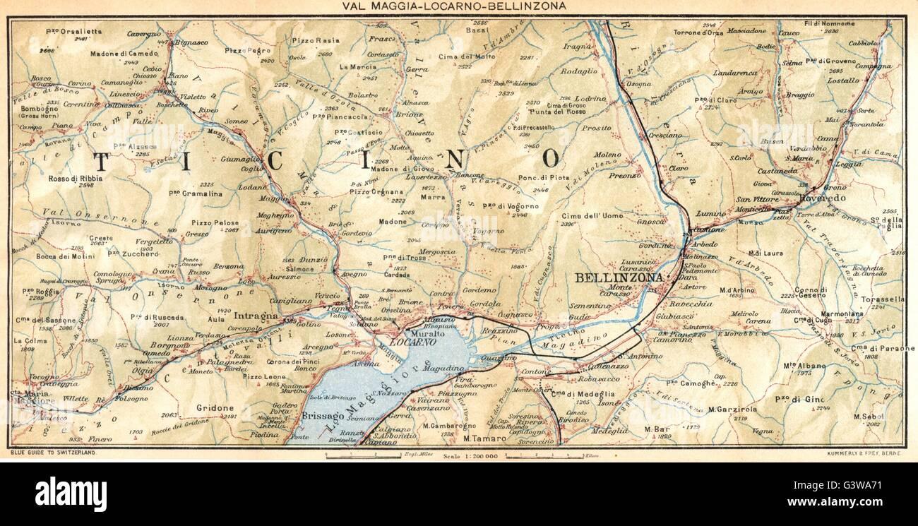 SWITZERLAND: Val Maggia-Locarno-Bellinzona, 1930 vintage map Stock ...
