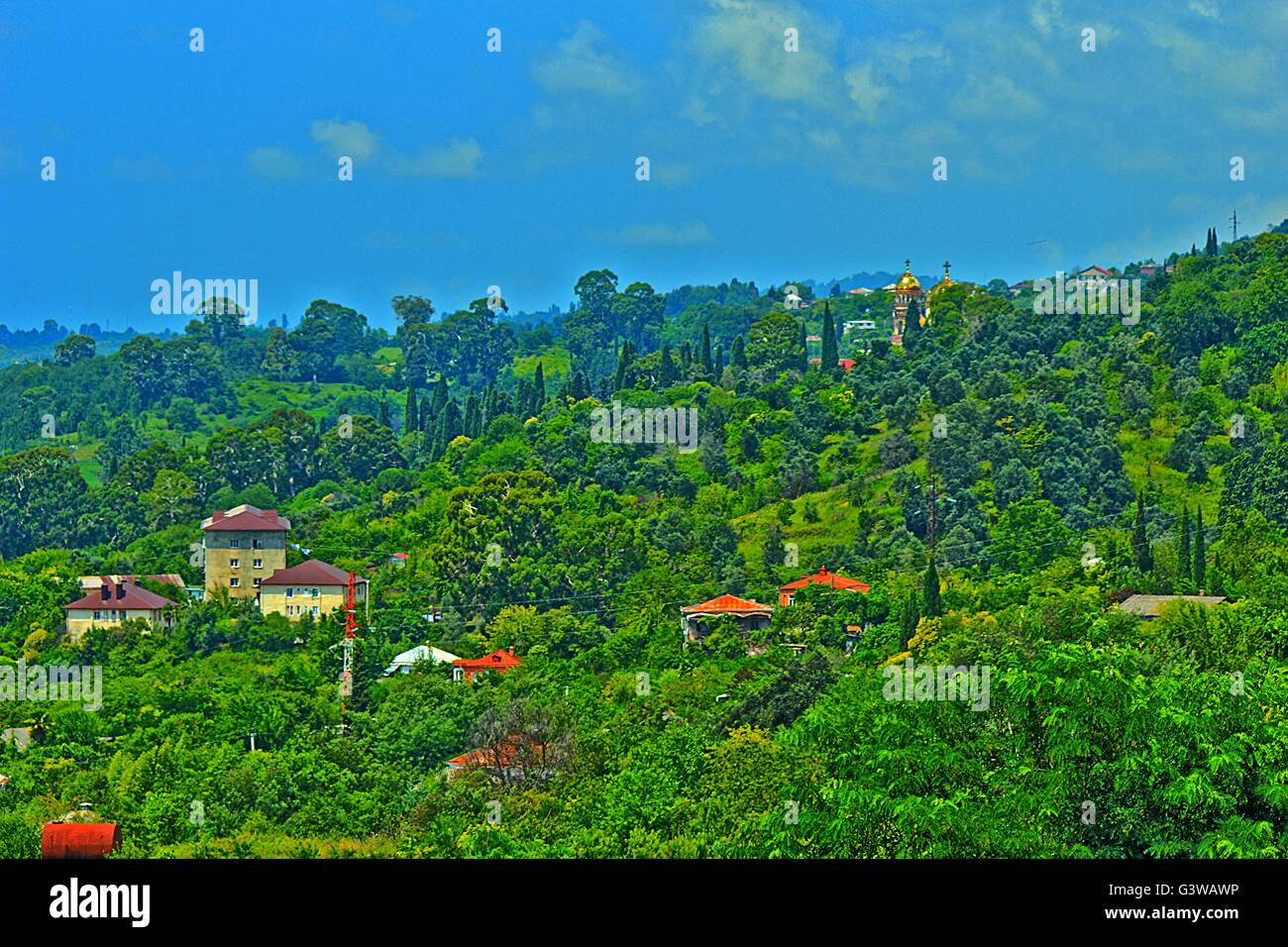 Panorama of the mountain ridge covered by dense vegetation near to the sea Stock Photo
