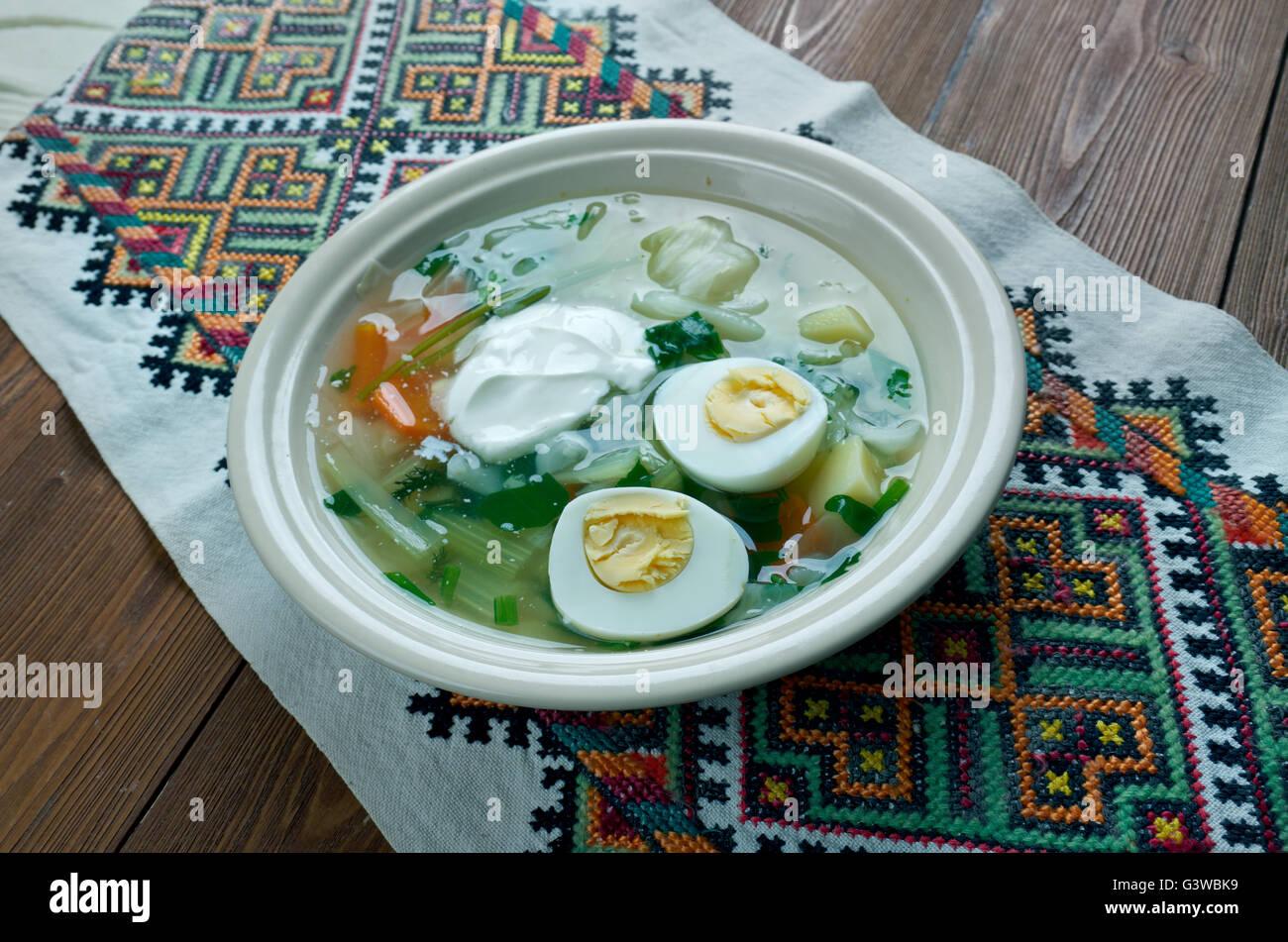 Polish Sorrel Soup. Slavic cuisine - Stock Image