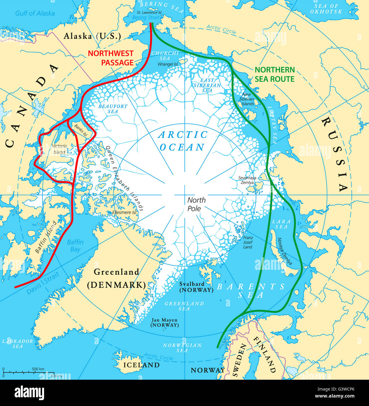 Arctic Circle On World Map.Arctic Circle Map Stock Photos Arctic Circle Map Stock Images Alamy