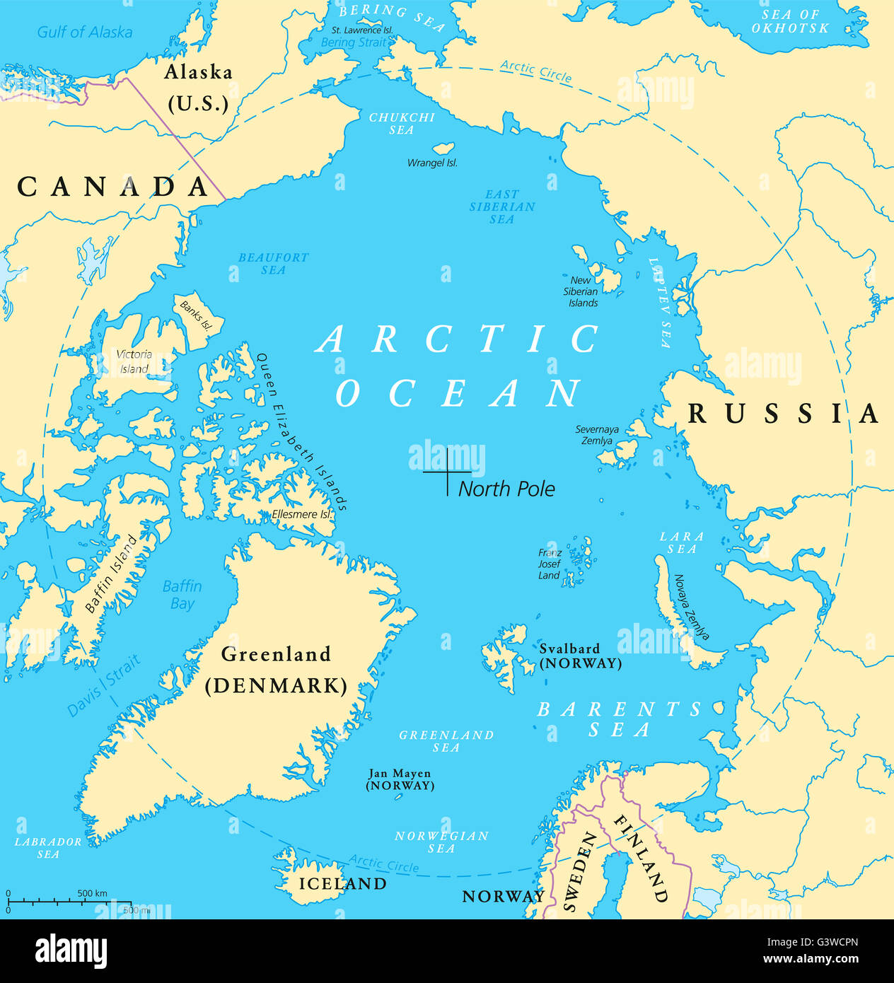 Arctic Ocean map with North Pole and Arctic Circle. Arctic region ...